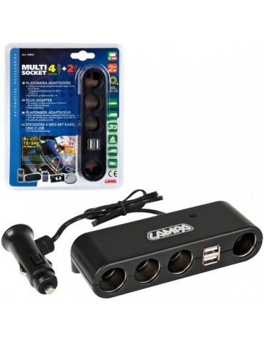 Enchufe Mechero 4 Tomas 5A + 2 USB 1A 12/24V