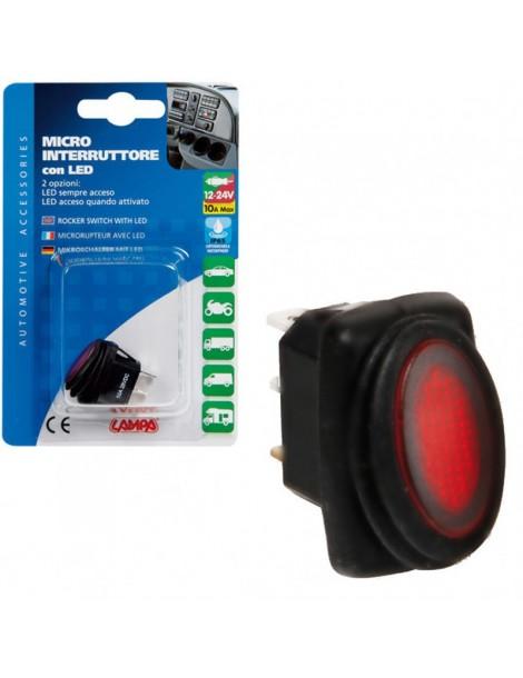 Interruptor Impermeable LED Rojo  12 / 24 V 10 A